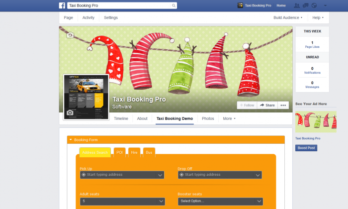 Taxi Booking for Facebook